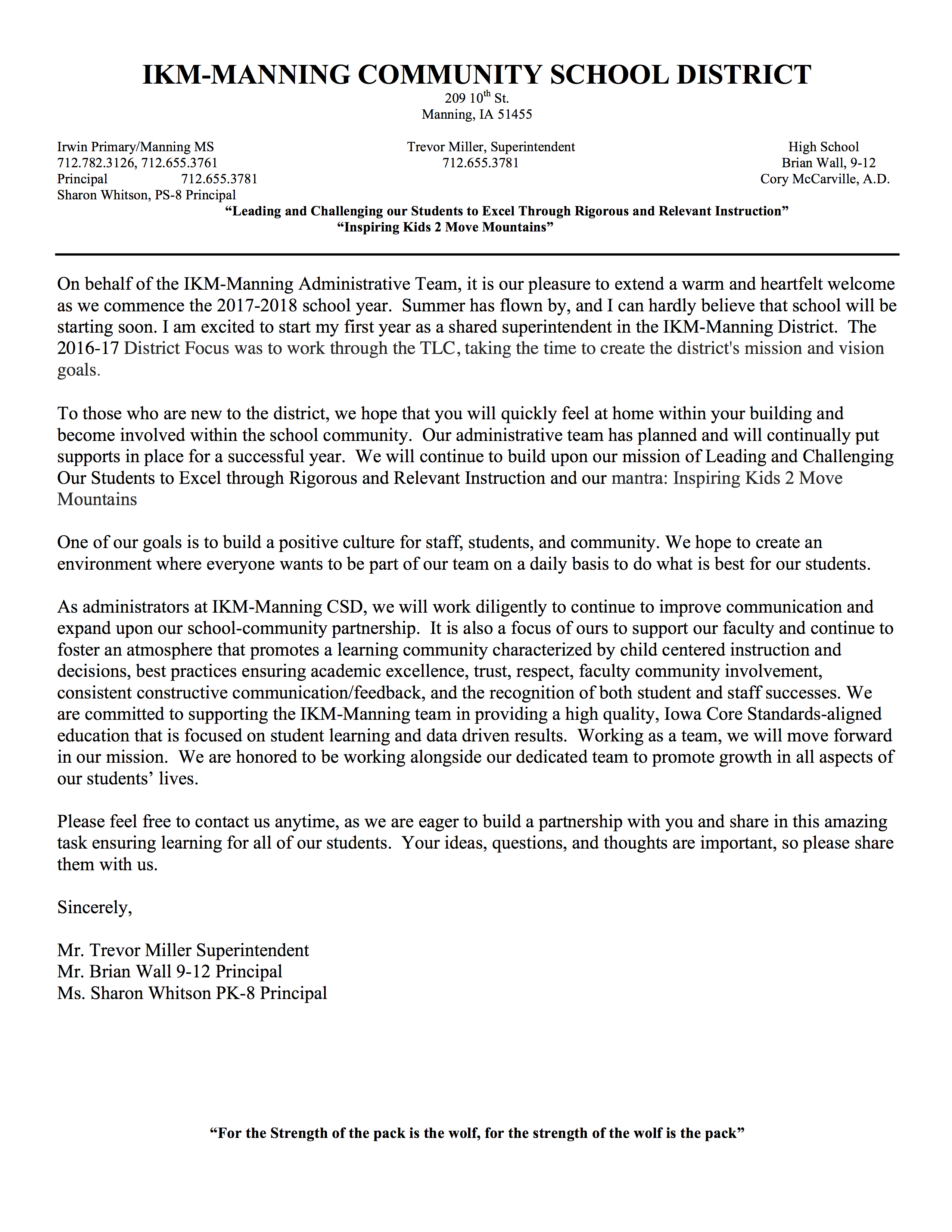 Welcome To The Team Letter from www.ikm-manning.k12.ia.us